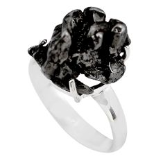13.21cts natural campo del cielo (meteorite) silver solitaire ring size 8 p87231