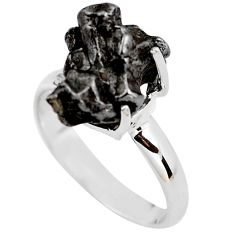 8.35cts natural campo del cielo (meteorite) silver solitaire ring size 7 p87232