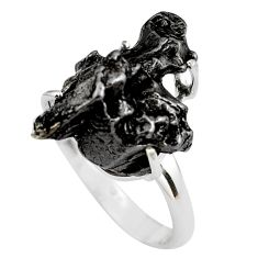 13.62cts natural campo del cielo (meteorite) silver solitaire ring size 9 p87233