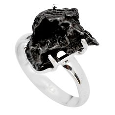 11.97cts natural campo del cielo (meteorite) silver solitaire ring size 8 p87234