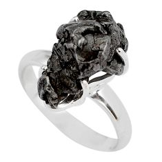 11.20cts natural campo del cielo (meteorite) silver solitaire ring size 7 p87239