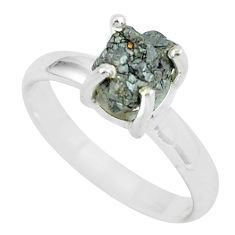 3.42cts natural certified diamond rough 925 silver solitaire ring size 7 p67025