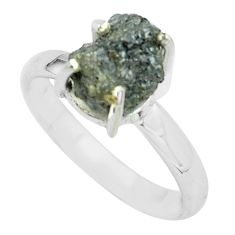 3.42cts natural certified diamond rough 925 silver solitaire ring size 8 p67036
