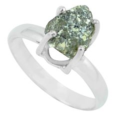 3.87cts natural certified diamond rough 925 silver solitaire ring size 8 p67043