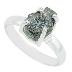 3.51cts natural certified diamond rough 925 silver solitaire ring size 7 p67074