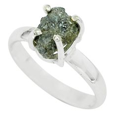 3.87cts natural certified diamond rough silver solitaire ring size 8.5 p67001