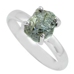 3.51cts natural certified diamond rough silver solitaire ring size 8.5 p67121