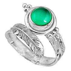 2.41cts natural chalcedony 925 silver adjustable feather ring size 8 p90101