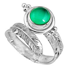 2.54cts natural chalcedony 925 silver adjustable feather ring size 8 p90106