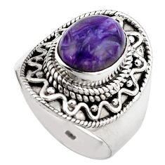 4.21cts natural charoite (siberian) 925 silver solitaire ring size 6.5 p88894