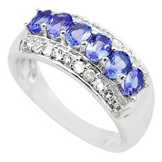 3.42cts natural diamond blue tanzanite 925 sterling silver ring size 7.5 c4285