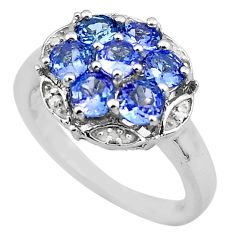 4.38cts natural diamond blue tanzanite 925 sterling silver ring size 7.5 c4295