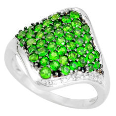 5.87cts natural diamond green tsavorite 925 sterling silver ring size 6.5 c3702