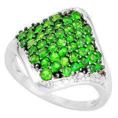5.87cts natural diamond green tsavorite 925 sterling silver ring size 6.5 c3702