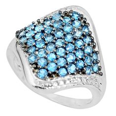 7.24cts natural diamond london blue topaz 925 sterling silver ring size 10 c3870