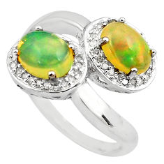 4.73cts natural diamond multi color ethiopian opal 925 silver ring size 7 c4283