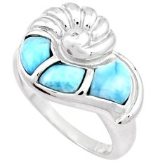 NATURAL DOMINICAN REPUBLIC BLUE LARIMAR TOPAZ 925 SILVER SNAIL RING SIZE 8 H2836
