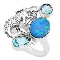 Natural doublet opal australian 925 silver fairy mermaid ring size 7.5 p61021