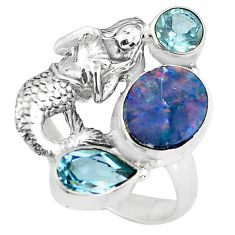 Natural doublet opal australian 925 silver fairy mermaid ring size 8.5 p61026