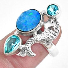 5.18cts natural doublet opal australian 925 silver fish ring size 6.5 p42729