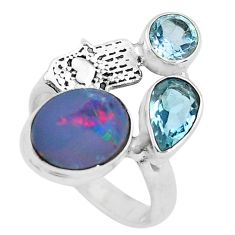 Natural doublet opal australian 925 silver hand of god hamsa ring size 7 p61029