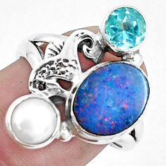 4.71cts natural doublet opal australian 925 silver seahorse ring size 7.5 p42733