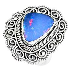 4.82cts natural doublet opal australian 925 silver solitaire ring size 7 p39104