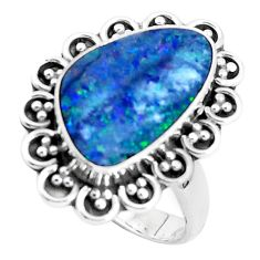 4.94cts natural doublet opal australian 925 silver solitaire ring size 8 p47486