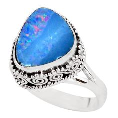 4.71cts natural doublet opal australian 925 silver solitaire ring size 8 p56449