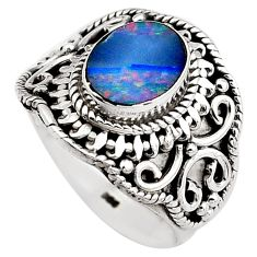 2.63cts natural doublet opal australian 925 silver solitaire ring size 7 p88887