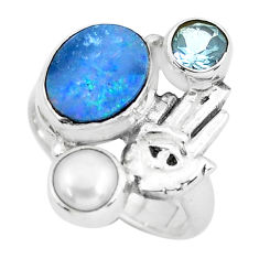 Natural doublet opal australian silver hand of god hamsa ring size 6.5 p61037