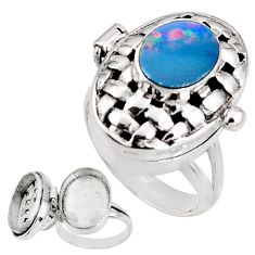 3.96cts natural doublet opal australian silver poison box ring size 7 p92853