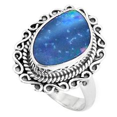 4.74cts natural doublet opal australian silver solitaire ring size 6.5 p47487