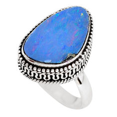 5.51cts natural doublet opal australian silver solitaire ring size 7.5 p56426