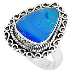 5.51cts natural doublet opal australian silver solitaire ring size 7.5 p60249
