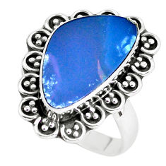 6.85cts natural doublet opal australian silver solitaire ring size 8.5 p60258