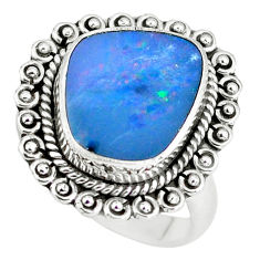 6.62cts natural doublet opal australian silver solitaire ring size 7.5 p60259