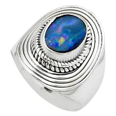 2.81cts natural doublet opal australian silver solitaire ring size 6.5 p80987