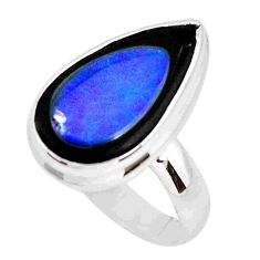 8.43cts natural doublet opal in onyx 925 silver solitaire ring size 9.5 p53770