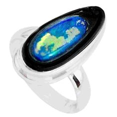7.12cts natural doublet opal in onyx 925 silver solitaire ring size 7.5 p53778