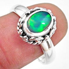2.17cts natural ethiopian opal 925 silver solitaire ring jewelry size 8.5 p84807
