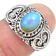 2.01cts natural ethiopian opal 925 silver solitaire ring size 7.5 p71555