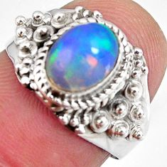 2.21cts natural ethiopian opal 925 silver solitaire ring size 6.5 p90607
