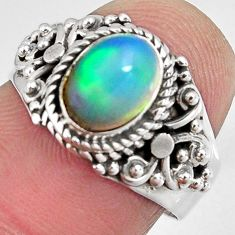 2.08cts natural ethiopian opal 925 silver solitaire ring size 6.5 p90614