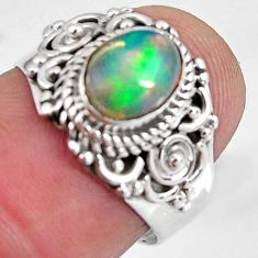 2.08cts natural ethiopian opal 925 silver solitaire ring size 6.5 p90617