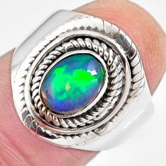 2.13cts natural ethiopian opal 925 silver solitaire ring size 6.5 p90620