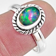 2.14cts natural ethiopian opal 925 silver solitaire ring size 7.5 p92087