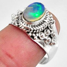 2.21cts natural ethiopian opal 925 sterling silver solitaire ring size 7 p90601