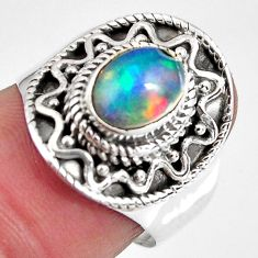 2.12cts natural ethiopian opal 925 sterling silver solitaire ring size 7 p90603