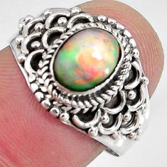 2.20cts natural ethiopian opal 925 sterling silver solitaire ring size 7 p90618